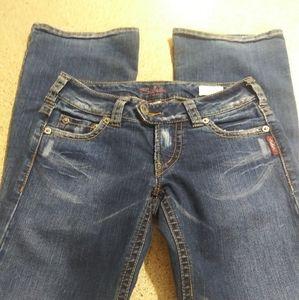 Silver Jeans 27/31 Tuesday boot cut dark wash